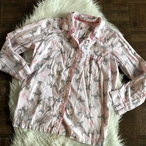 Victorias Secret Med Pink Pajama Shirt Butterfly
